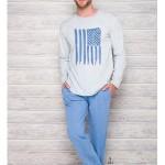 1007 Dlouhé pánské pyžamo KAROL L-2XL