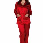 Dámské saténové pyžamo Classic dlouhé červené