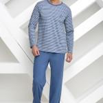Dlouhé pánské pyžamo Max modré