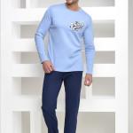 Hrubší bavlněné pánské pyžamo Kuba světle modré
