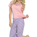 Lososové dámské pyžamo Ismena