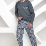 Pánské pyžamo František dlouhé šedé