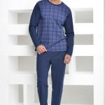 Pánské pyžamo Roman káro modré