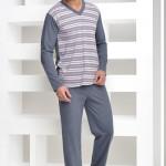Pyžamo Roman s šedými proužky kulatý výstřih