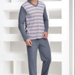 Pyžamo Roman s šedými proužky véčko