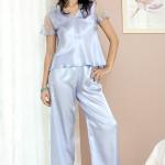 Saténové pyžamo Ewa modré