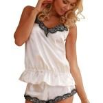Bílé saténové pyžamo Ronda