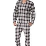 Pánské flanelové pyžamo Richard hnědé káro