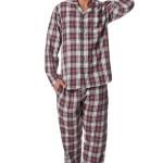 Pánské flanelové pyžamo Sammy vínové káro