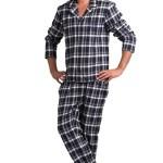 Pánské flanelové pyžamo Will modré káro