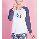 Dámské pyžamo dlouhé Panda na měsíci