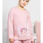 Dětské pyžamo dlouhé Kočka s čepicí