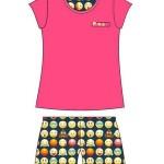 Dámské pyžamo Cornette 628/141 Emoticon kr/r