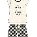 Dámské pyžamo Cornette 628/143 Coffee kr/r