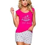 Dámské pyžamo Eva růžové s kočkou