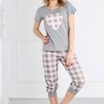 Dámské pyžamo Muzzy Srdce Káro 9807 kr/r S-XL