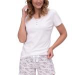 Luxusní dámské pyžamo Ema bílé krátké