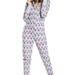 Dámský šedý pyžamový overal Sovička zip