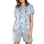Dámské pyžamo Rose s tyrkysovými růžičkami
