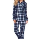 Flanelové pyžamo Olivie tmavě modré