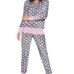 Hřejivé dámské pyžamo Lolita šedé s puntíky