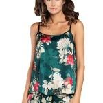 Saténové pyžamo Kreta zelené s květy