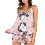 Saténové pyžamo Sardinie růžové s květy