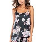 Saténové pyžamo Santorini černé s květy