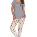 Dámské pyžamo Yoga dog šedé