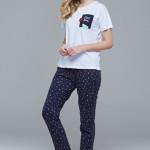 Dámské pyžamo (krátké rukávy/dlouhé kalhoty) 21412