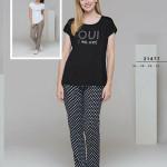 Dámské pyžamo (krátké rukávy/dlouhé kalhoty) 21477