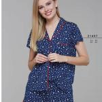 Rozepínané dámské pyžamo (krátké rukávy/šortky) 21497