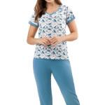 Bavlněné pyžamo Laura modré motýli