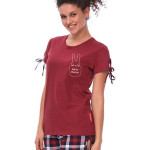 Dámské krátké pyžamo Hello Bunny vínové