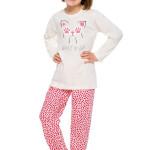 Dívčí pyžamo Elza ecru s kočičkou