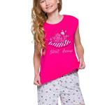 Dívčí pyžamo Eva růžové s kočkou