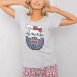 Šedé dvoudílné dámské pyžamo