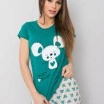 Tmavě zelené dámské pyžamo s potiskem
