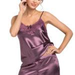 Luxusní saténové pyžamo Eva plum