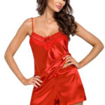 Luxusní saténové pyžamo Eva červené