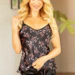 Luxusní saténové pyžamo Carmen černé