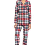 Vamp – Kárované dvoudílné dámské pyžamo 15719 – Vamp