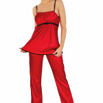 Saténové pyžamo Daisee červené