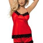 Červené saténové pyžamo Mandy