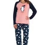 Dámské pyžamo Chillin Penguin lososové