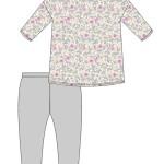 Dámské pyžamo Cornette 147/195 Flowers 2 3/4 S-2XL