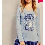 Dámské pyžamo dlouhé Kotě
