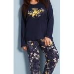 Dámské pyžamo dlouhé Květena