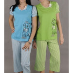 Dámské pyžamo kapri Kočka s mašlí