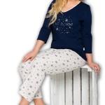 Dámské pyžamo Lena 146 blue-ecru